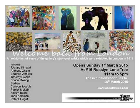 Welcome back from London One Off Art Exhibition Invitation