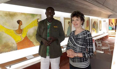 Peter Elungat with Carol Lees at Exhibition Opening at One Off Gallery