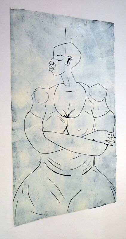 Thom Ogonga - Untitled -  Woodcut print on paper - 132h x 71w cm