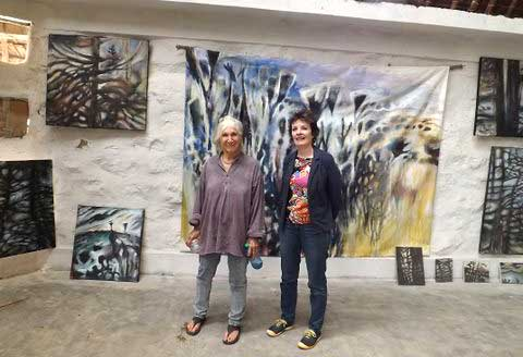 Artist Yony Wai^te and One Off Curator, Carol Lees, in Yony's studio on the Athi Plains, Kenya
