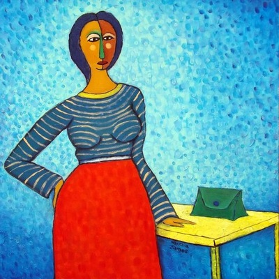James Mbuthia - Untitled with purse - Acrylic on canvas - 61 x 61 cm
