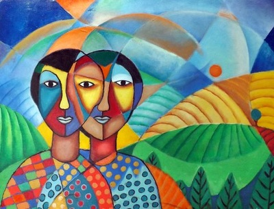 James Mbuthia - Twins II - Acrylic on canvas - 61h x 79w cm