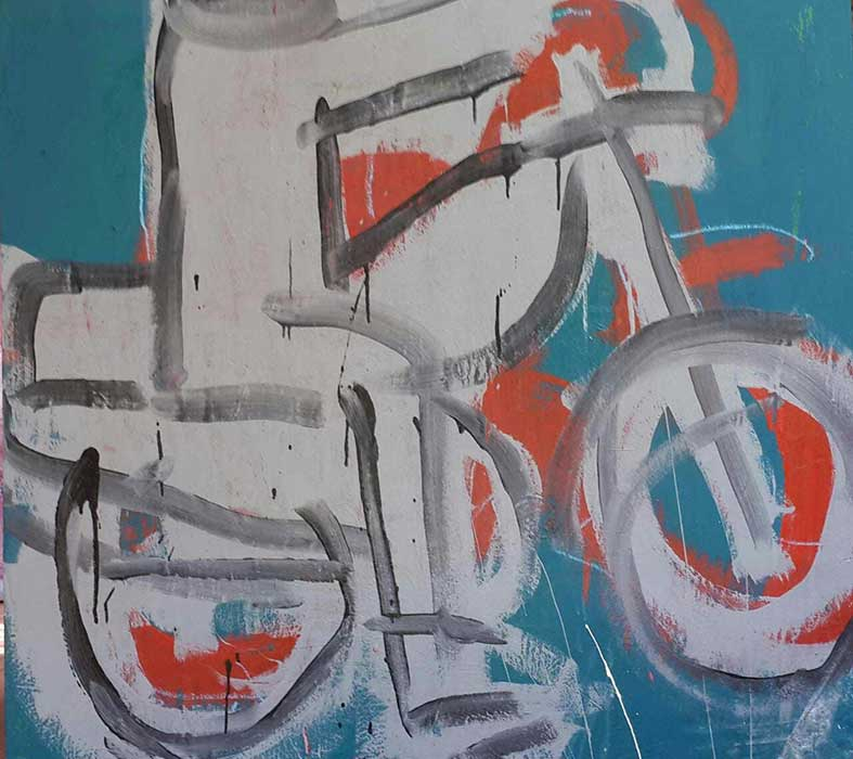 Ehoodi Kichapi - A Cool Bike, 2017 - Mixed media on canvas - 106h x 115w cm
