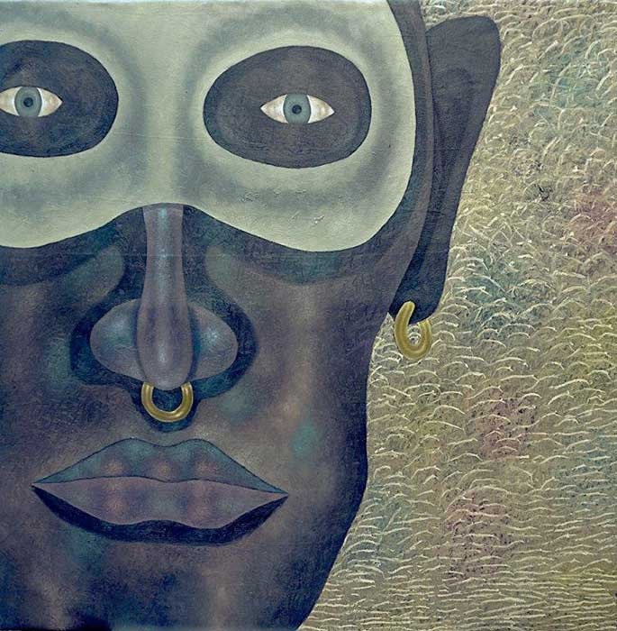 Anthony Okello - Masquerade series - Belief in people, 2018 - Oil on canvas - 153h x 150w cm
