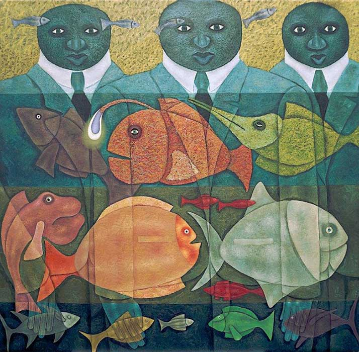 Anthony Okello - Of Fish and Men, 2019 - Oil on canvas - 160h x 152w cm