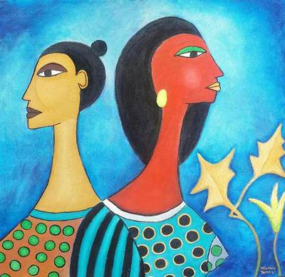 James Mbuthia - Co wives, 2017 - Acrylic on canvas - 92h x 92w cm