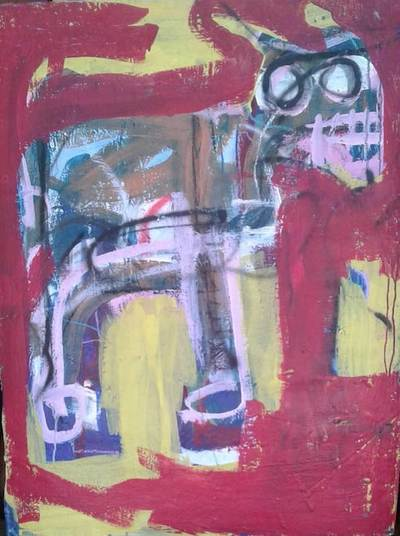 Ehoodi Kichapi - Red Donkey with Yellow, 2017 - Acrylic on canvas - 99h x 76w cm