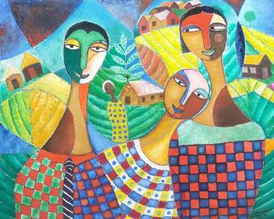 James Mbuthia - Family, 2014-2017 - Oil on canvas - 113h x 137w cm