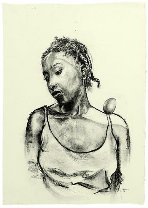 Florence Wangui - Egg Rest on Shoulder, 2018 - Charcoal on paper - 70h x 50w cm