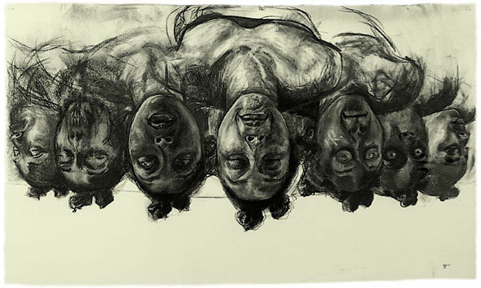 Florence Wangui - Insightopia I, 2018 - Charcoal on paper - 69h x 113w cm