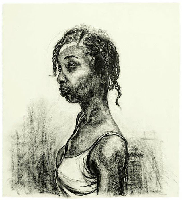 Florence Wangui - Waiting Transition II, 2018 - Charcoal on paper - 69h x 63w cm