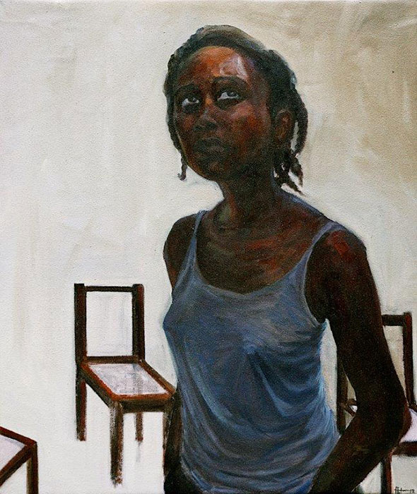 Florence Wangui - Waiting Transitions - Oil on canvas - 70h x 59w cm