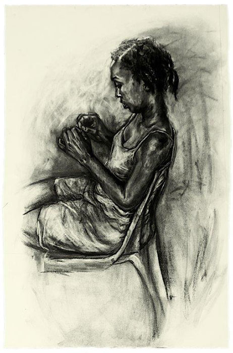 Florence Wangui - Waiting Transitions III, 2018 - Charcoal on paper - 112h x 74w cm