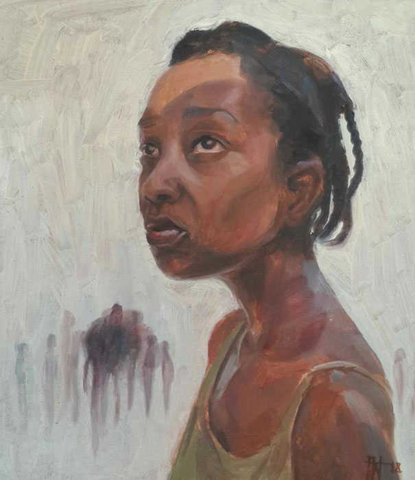 Florence Wangui - They Are Calling Back For You, 2018 - Oil on board - 19.50h x 17w cm
