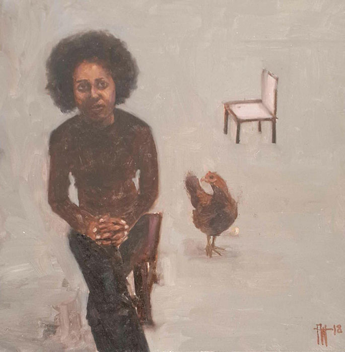 Florence Wangui - Tomorrow's Guest, 2018 - Oil on board - 19.50h x 19.50w cm