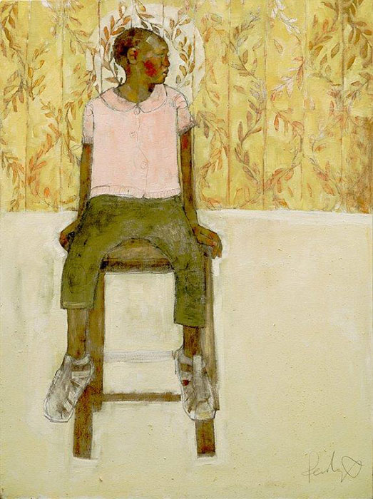 Olivia Pendergast - Girl on Stool, 2018 - Oil on canvas - 123h x 92w cm
