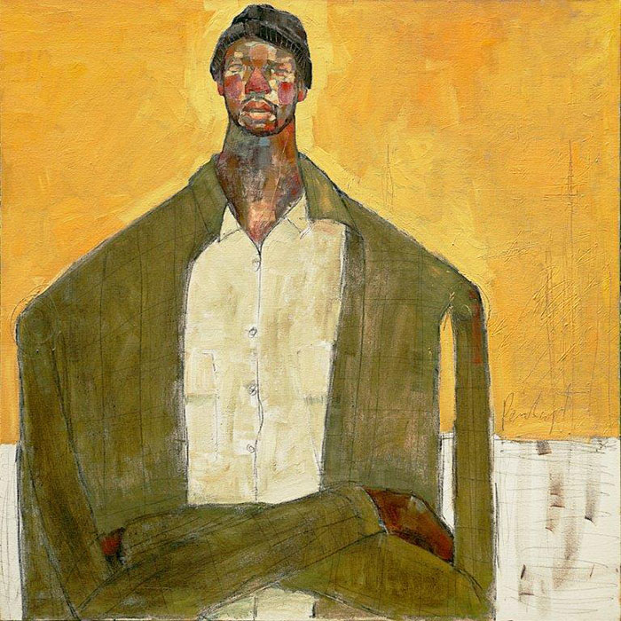Olivia Pendergast - Man on Yellow, 2018 - Oil on canvas - 92h x 92w cm