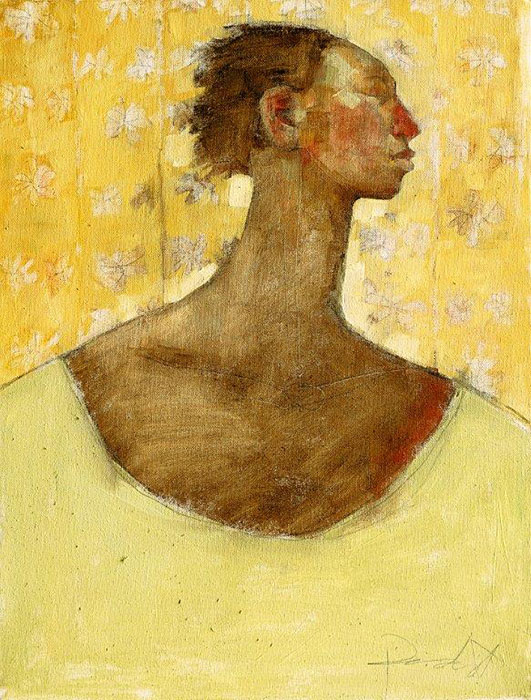Olivia Pendergast - Profile of Woman on Yellow, 2018 - Oil on canvas - 62h x 46w cm