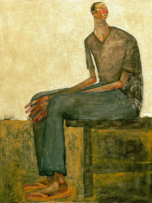 Olivia Pendergast - Young Man on Lace, 2018 - Oil on canvas - 123h x 92w cm
