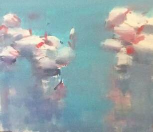 Timothy Brooke - Lesser Flamingos, 2019 - Oil on canvas - 80h x 90w cm