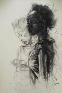 Florence Wangui - This Time Ask the Real Question, 2019 - Charcoal on paper - 91h x 62w cm