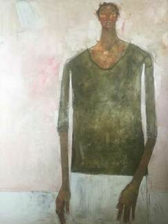 Olivia Pendergast Girl From Gachie on Pink, 2019 - Oil on canvas - 121.92h x 91.44w cm