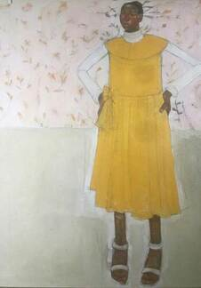 Olivia Pendergast - Girl in Yellow Dress, 2019 - Oil on canvas - 121.92h x 91.44w cm