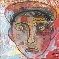 Simon Maina - Imagine face - Mixed media - 30 x 30 cm