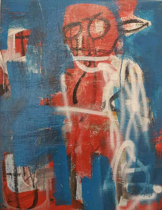 Ehoodi Kichapi - Red Man on Blue, 2017 - Mixed media on vinyl - 90.50h x 70.50w cm