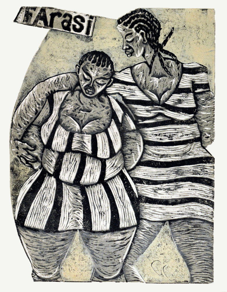 Thom Ogonga - Untitled (Farasi) - Woodcut print on paper - 132h x 71w cm