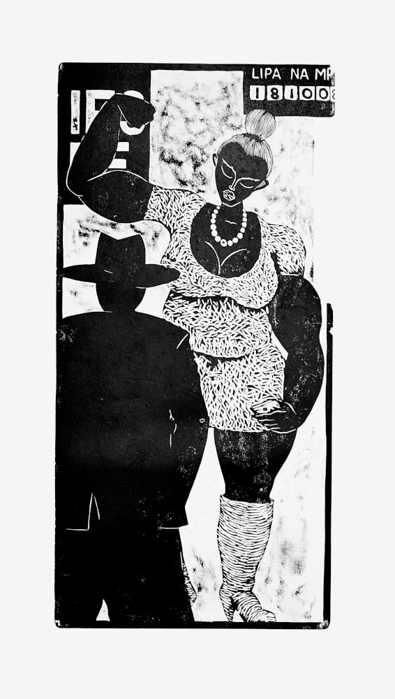 Thom Ogonga - Untitled (Fuliza) - Woodcut print on paper - 137h x 76w cm