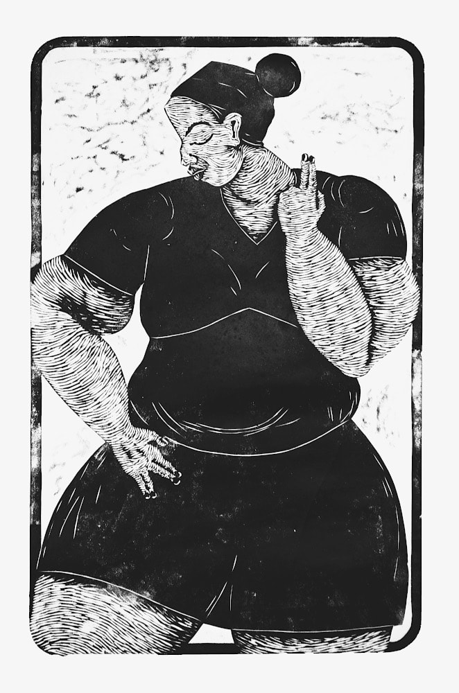 Thom Ogonga - Untitled (Monica) - Woodcut print on paper - 139h x 91w cm