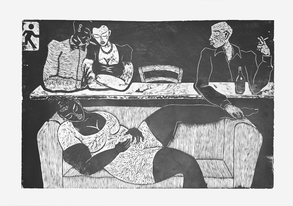 Thom Ogonga - Untitled (Ten) - Woodcut print on paper - 76h x 137w cm